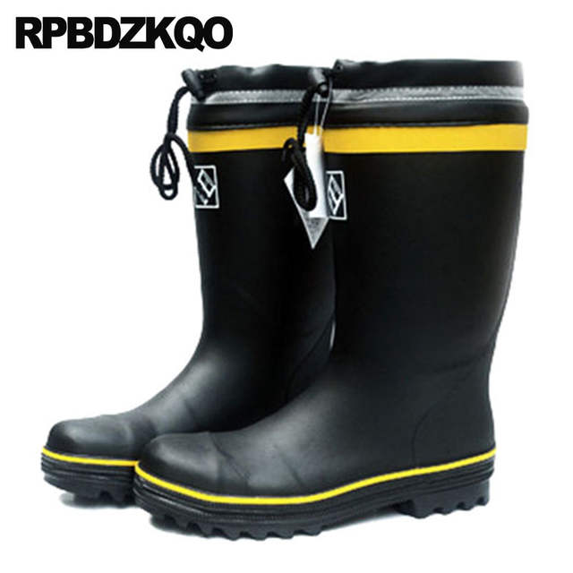 10f6a52e922 Thick Soled Mens Rubber Rain Boots Non Slip Fur Cheap Winter High Sole Tall  Plus Size Knee Steel Toe Black Shoes Waterproof