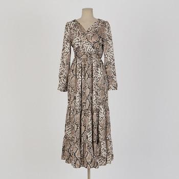 5cc1e7a31b80b Guyunyi Python desen Gevşek hem elbise Kadınlar İlkbahar zarif baskı maxi  elbise uzun kollu Sonbahar gevşek parti boho seksi elbise elbise