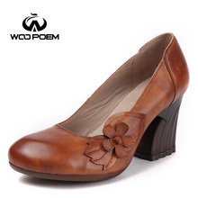 WooPoem Brand Ethnic Shoes Woman Genuine Leather Pumps Flowers Women Pumps  Wedges High Heels Retro Hoof 69e0a42ad1fa