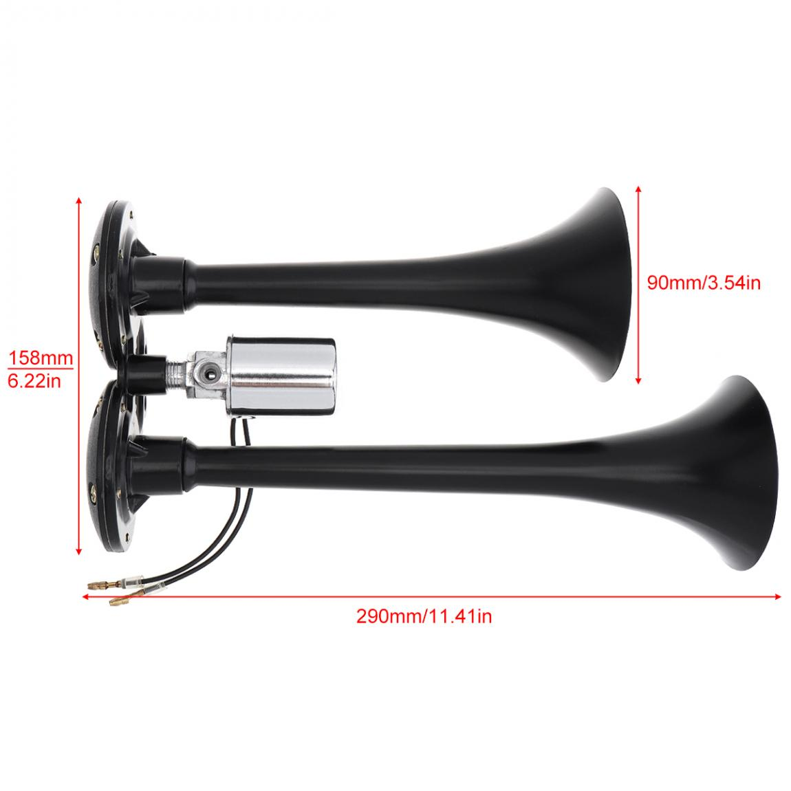 12V 178DB Super Loud Black Dual Trumpet Electronically Controlled Car Air Horn for Cars Trucks Boats Motorcycles Vehicles in Multi tone Claxon Horns from Automobiles Motorcycles