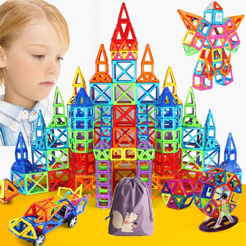 56-124PCS Big Size Magnetic Constructor Set Boys Girls Building Magnets Toy Magnetic Blocks Educational Designer For Children