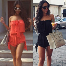 Women Sexy Mini Off Shoulder Summer Beach Play Suit Casual Shorts Jumpsuit Summer Discount Summer Discount(China)
