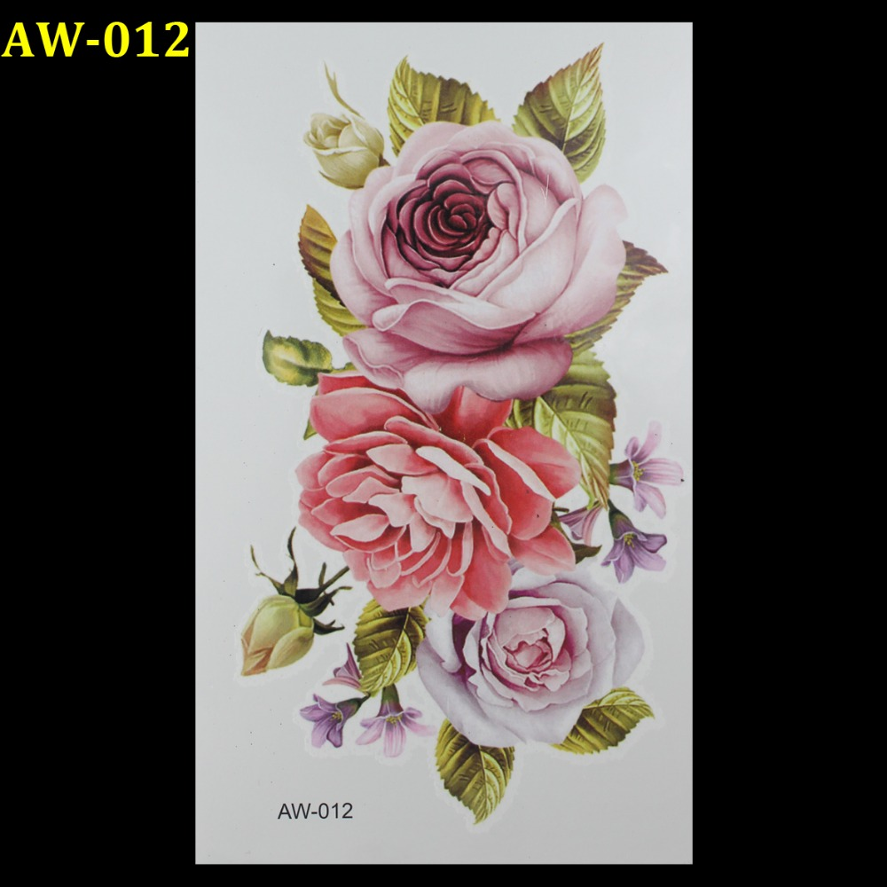 Wholesale Green leaves pink roses 3d tats