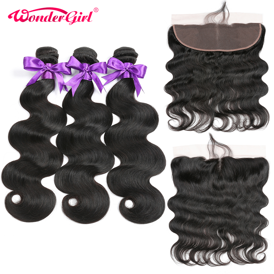 Ear To Ear Lace Frontal Closure With Bundles Remy Brazilian Body Wave Human Hair 3 Bundles With Closure Wonder girl No Shedding