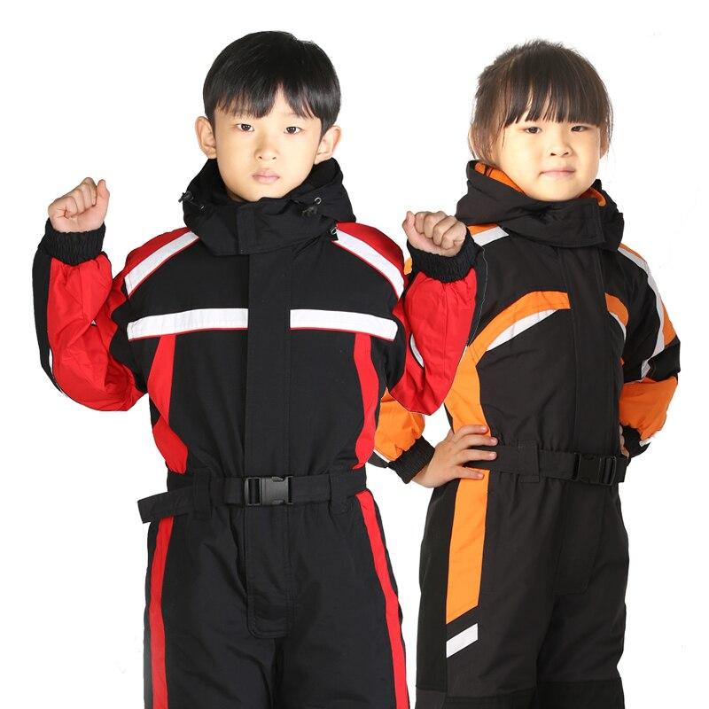 Livraison Gratuite Enfants de Ski Imperméable À L'eau Chaude Costumes Ensemble Sport En Plein Air Une Pièce Imperméable Manteaux D'hiver Snowboard