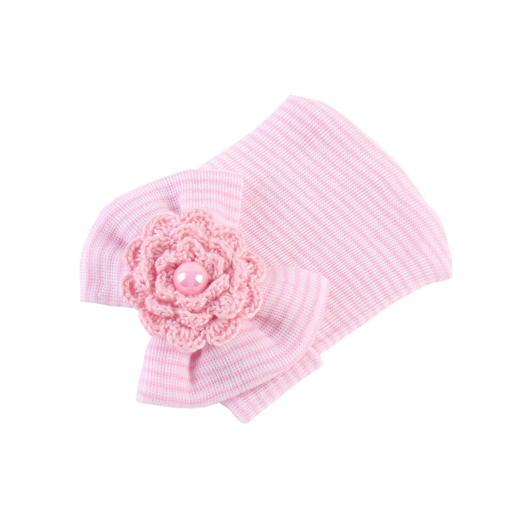 New Christmas Gift Newborn Baby Cap Striped Soft Cotton Hospital Hat Pretty Bowknot Flower Beanies Girl Caps Hats Accessories