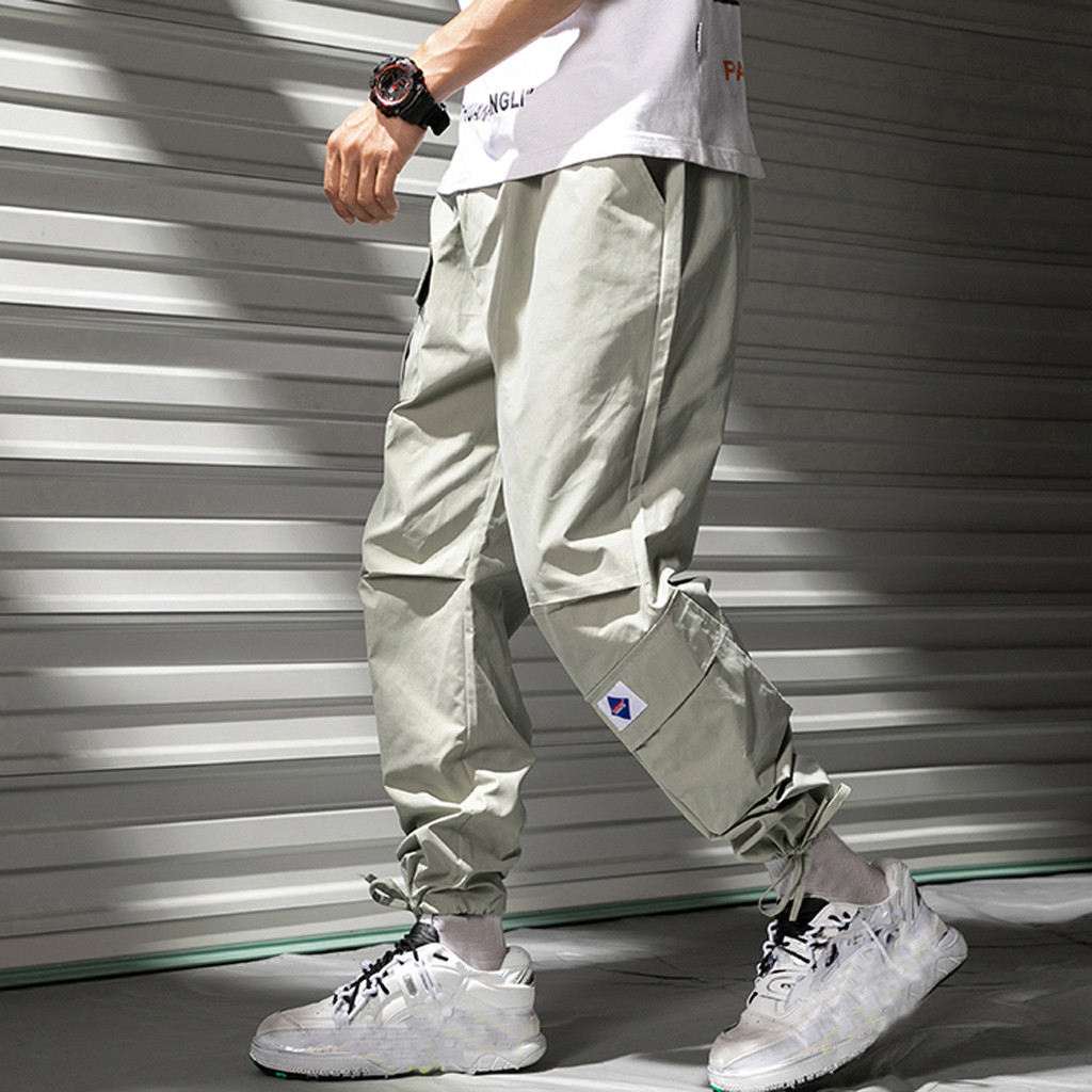 Windbreaker Pants Joggers Overalls Fit-Trousers Tatical Streetwear Hip-Hop Loose Sports