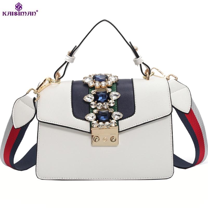 2018 Luxury Brand Summer Diamond Gem Women Leather Handbag Colorful Wide Strap Shoulder Bags Famous Designer Handbag Big Totes