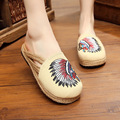 Vintage Embroidery slippers Thailand old Beijing Boho handmade woven Round Toe sandals Indian Embroidered linen Cotton slippers