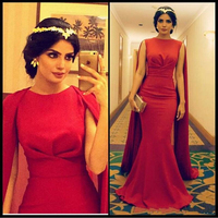 Charming Arabic Red Satin Mermaid Long Prom Gowns O Neck With Ruched Cape Floor Length Evening Gowns Custom Made Dresses