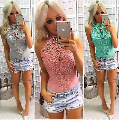 Sexy Womens Floral Lace Bodysuit Leotard Tops Sleeveless Bodycon Party Jumpsuit Romper Playsuit with 4 Colors