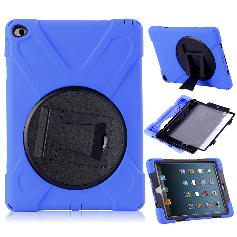 Fashion Shockproof Case for iPad Air 2 Soft Silicone Hard Plastic Hybrid Armor Cover for iPad Air 2 iPad 6 Tablet Stand Case
