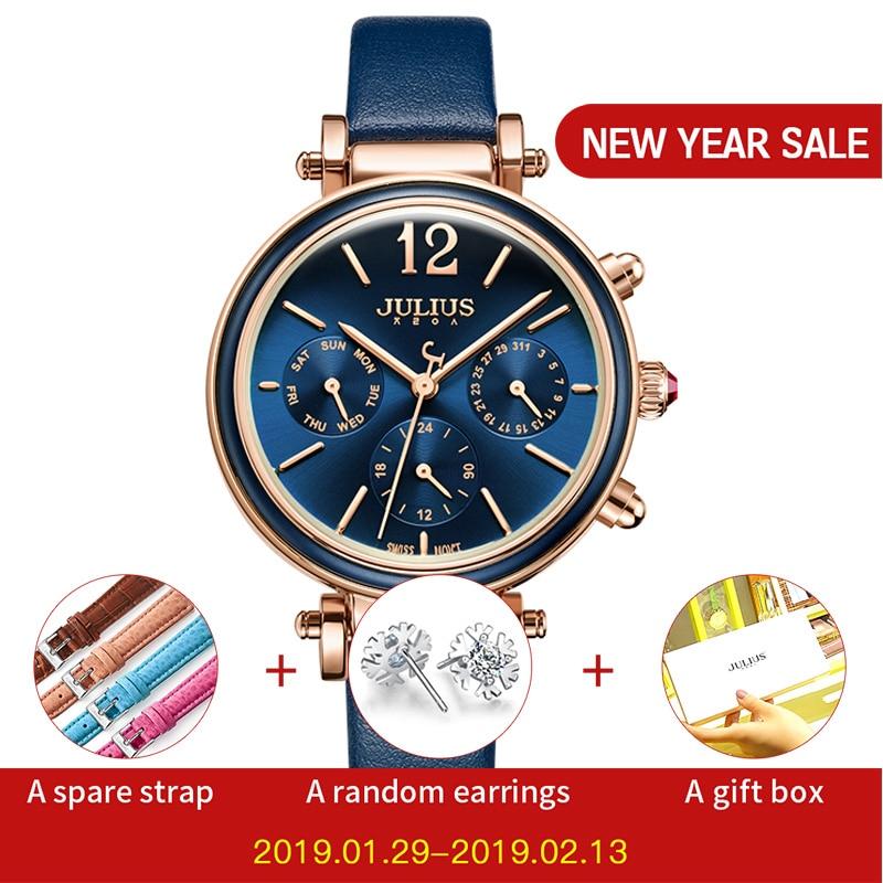 Julius Brand Creative Watches Damesmode Chronos Quartz Horloge Retro Vintage Montre Femme Auto Dag Datum Dames Klok JA-958