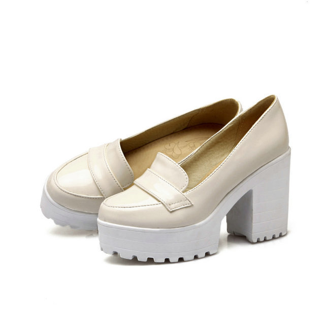 Freeshipping Moda primavera sapatos sapatas de vestido das mulheres da bomba da plataforma do salto grosso sexy sapatos de salto alto preto damasco bege