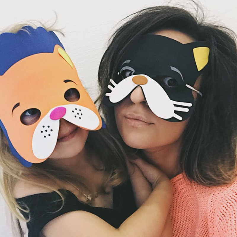Image 2 - High Quality 12 pcs/lot New Fashion Handmade Children's Mask Animal Shape For Kids Party Decoration Mask Random Mixed-in Party Masks from Home & Garden