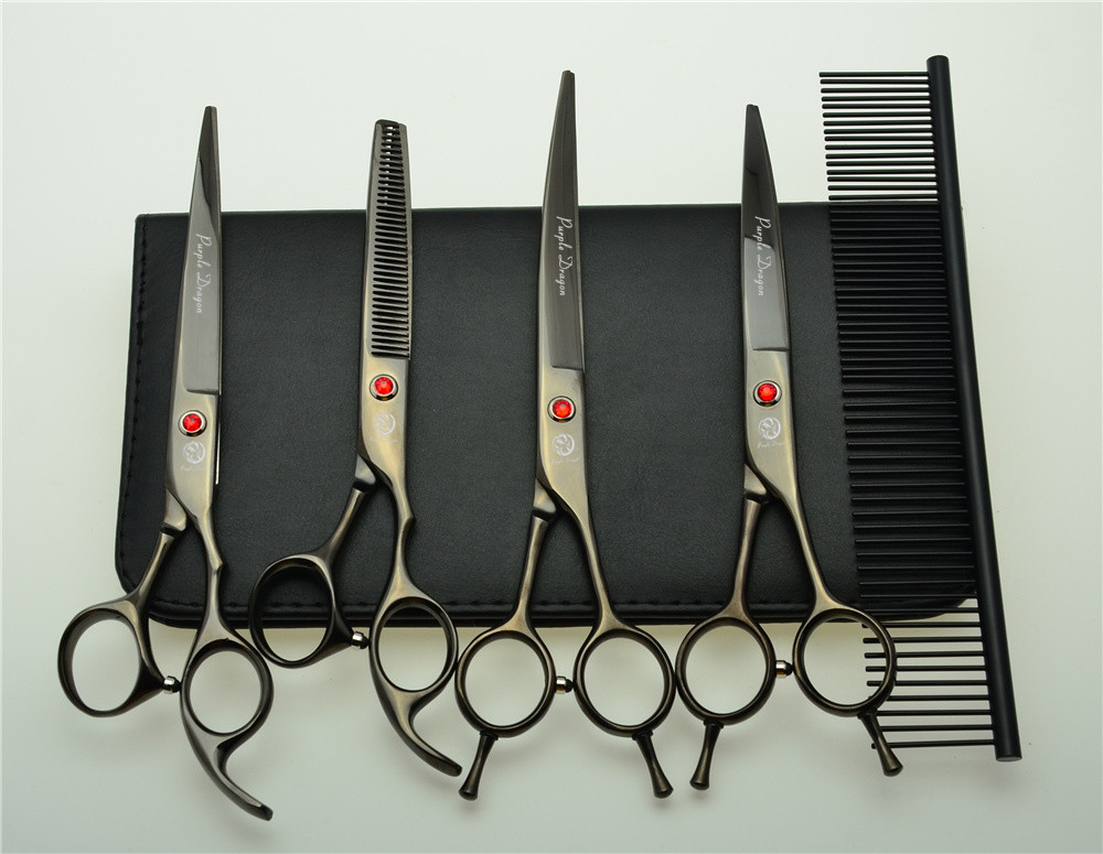5Pcs Set 7'' 19.5cm Black Professional Hair Hairdressing Scissors Comb + Cutting Shears + Thinning +UP/Down Curved Shears Z3002H