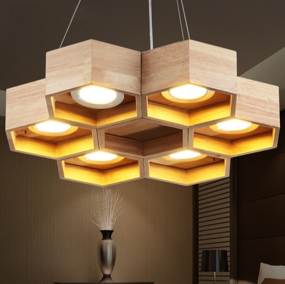 Modern creative honeycomb wood art droplight led pendant for Hanging light fixtures for dining room
