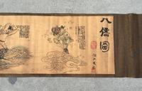 Antique vintage antique calligraphy scroll paintings, decorative painting si Eight immortals diagram