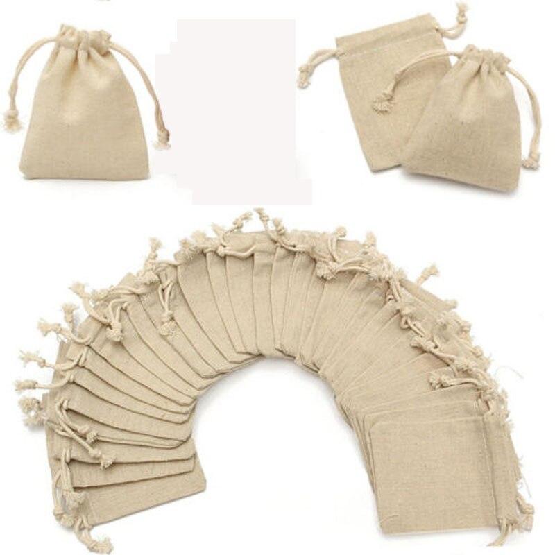 Mini 50pc/Set Handmade Drawstring Bag Linen Jute Drawstring Gift Bags Pouch Wedding Party Bag Women Travel Packing
