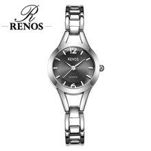 RENOS Women Quartz Watch With Box Simple Black White Pink Alloy Wristwatches Fashion Casual Bracelet Stainless Steel Watches