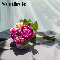 DH Peony Camellia 8 Pcs Flower Bouquet Artificial Flowers For Home Decoration Accessories Artificial Peonies Wedding