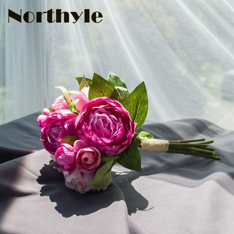 Umetni peony in Camellia svileni cvetovi v roza in beli barvi 13 cm visoki poročni šopek