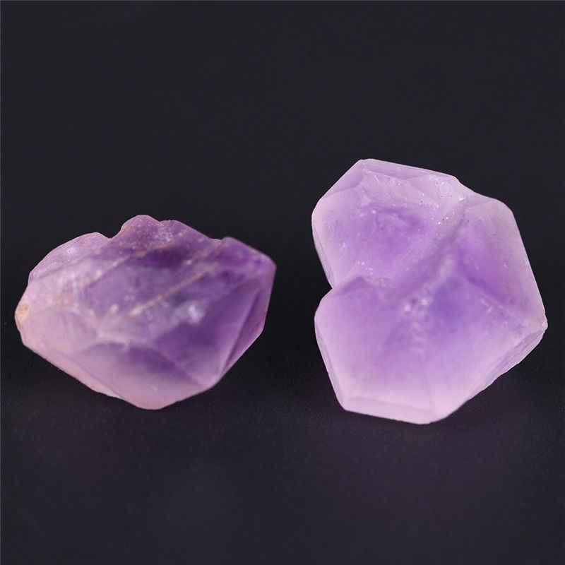 ธรรมชาติ Point หินจี้ลูกตุ้มคริสตัล Chakra สีม่วง Healing Reiki ลูกปัด