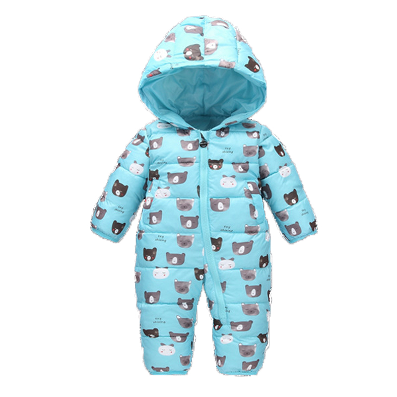 Baby Snowsuits Hooded Cute Bears Jumpsuit Down Cotton Jacket For Boys Girls Overalls Warm Coats Kids Clothes Infantil Rompers children winter jumpsuit duck down baby rompers fur infant girls boys overalls hooded kids snowsuits warm baby clothes jacket