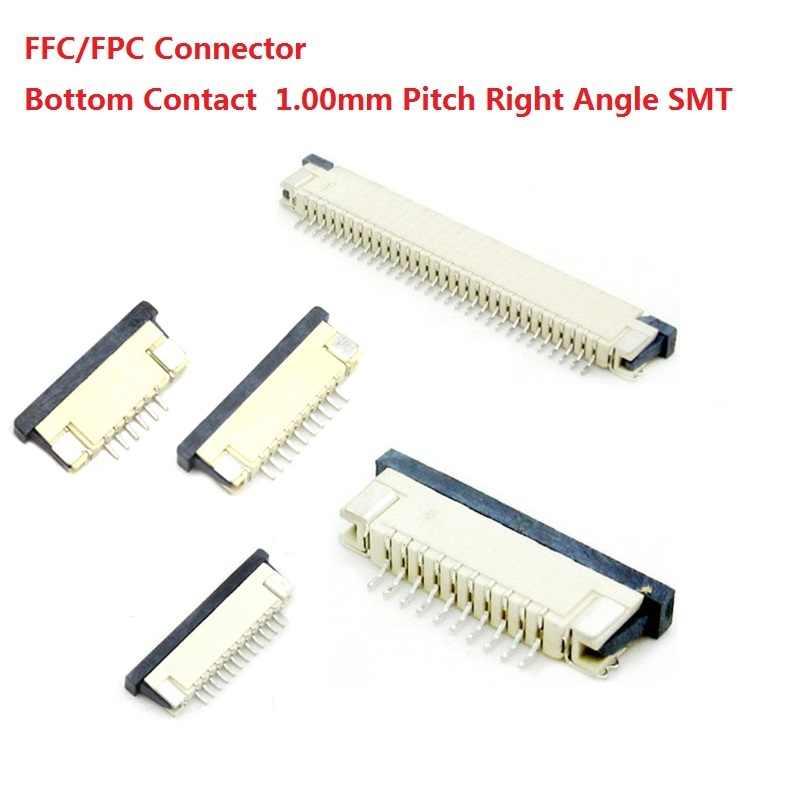 1000 шт. на ленте FFC/fpc-коннектор для подключения ЖК-дисплея к 1,0 мм 4 Pin 5 6 7 8 10, 12, 14, 16, 18, 20, 22, 24, 26 18 30 P нижний контакт правый угол SMD SMT