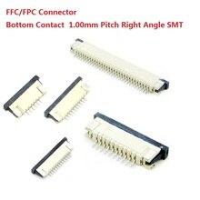 1000 cái trên Băng FFC/FPC kết nối 1.0 mét 4 Pin 5 6 7 8 10 12 14 16 18 20 22 24 26 18 30 P Liên Lạc Phía Dưới Right angle SMD SMT