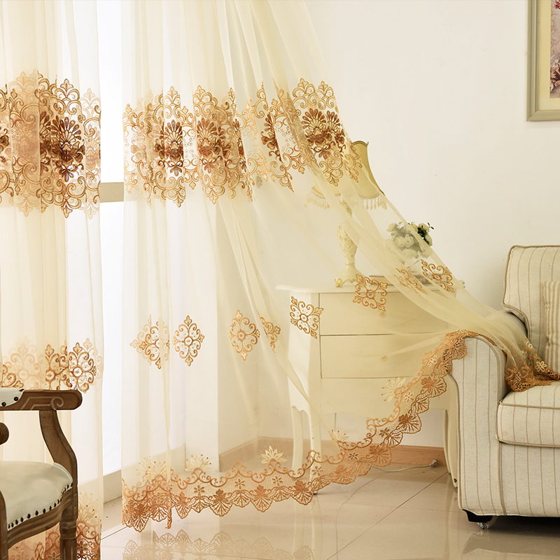 Luxury European Embroidered Beige Tulle Curtains For Living Room Balcony White Voile Sheer Curtains Fabric For Bedroom WP160#30