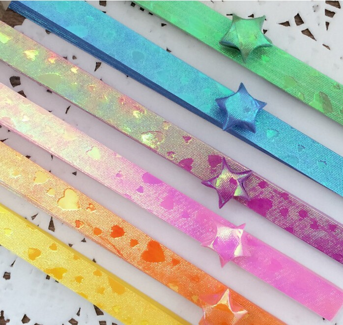NEW 3 Pack Origami Lucky Wish Star Paper Strips Luminous Folding ... | 662x698