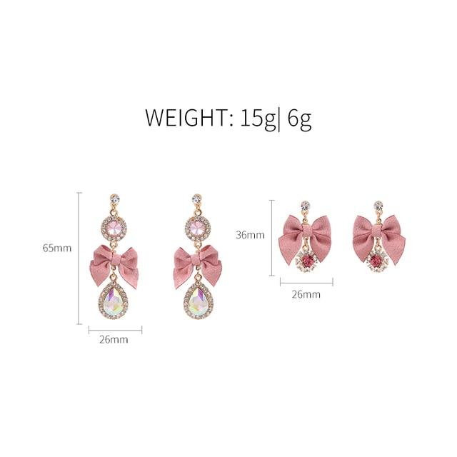 Купить новые милые роскошные серьги подвески стразы с розовым бантом