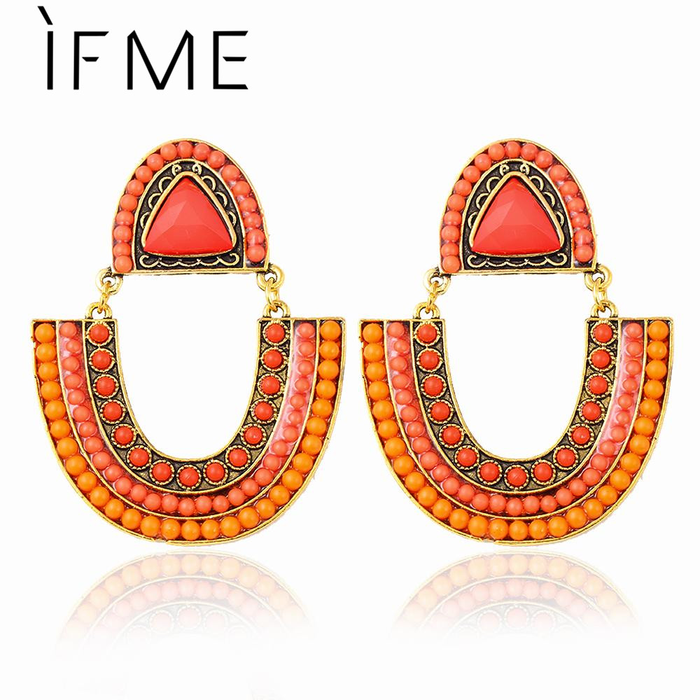 2015 Vintage Gold Color Resin Earring Colorful Dangle Jewelry Swing Style Alloy Drop Earrings for Women des boucles doreilles