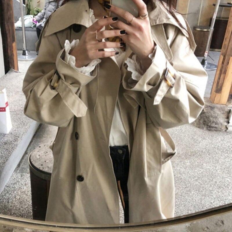 Manteaux Style Coupe Gray Coréen Grande Lâche Femelle Printemps Long Élégant Dames Femmes Manteau vent Taille Pardessus Outwear Trench khaki coat qXw7TT