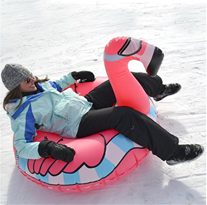 5pcs/lot 0.6mm PVC Cold-resistant inflatable flamingo winter snow tube inflatable flamingo Snow Scooter Ski for Christmas gift