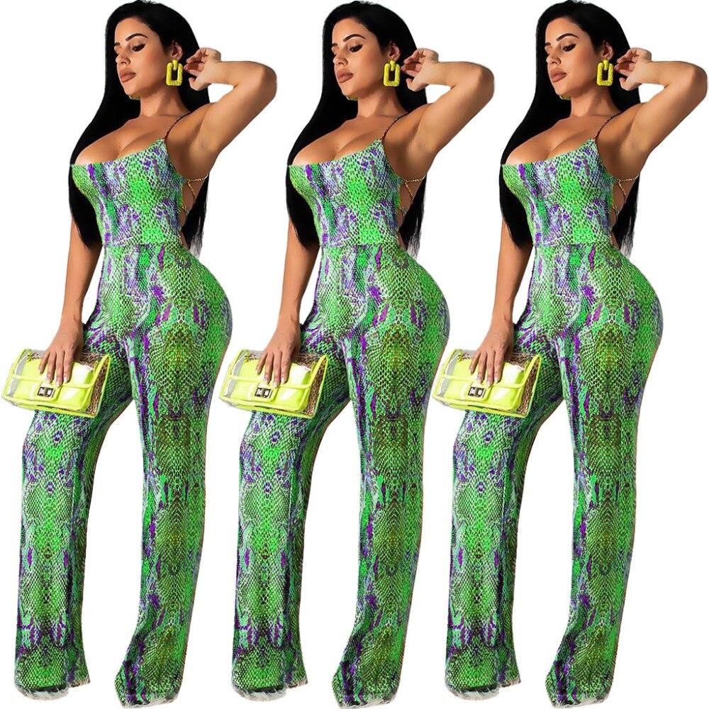 Europa American Digital Print Serpentine Sexy Strap Liebsten Bandage Dünne Frauen Overalls Weibliche Playsuits Plus Größe SchöNer Auftritt