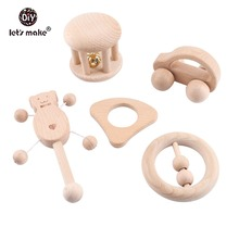 Lets Make Baby Teether 1set/5pc Wood Rattle Food Grade Wooden Products Montessori Teething Toys For Children Gift