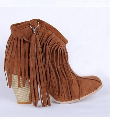 Popular Grey Suede Fringe Ankle Boots Fashion Nubuck-Buy Cheap ...