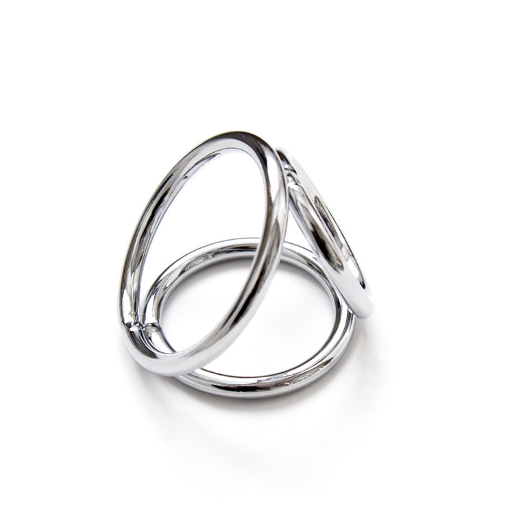 Tri 3 Rings cock ring chastity delay penis ring Metal Steel penis Cage Impotence Erection Aid Sex aid Erectile Dysfunction game
