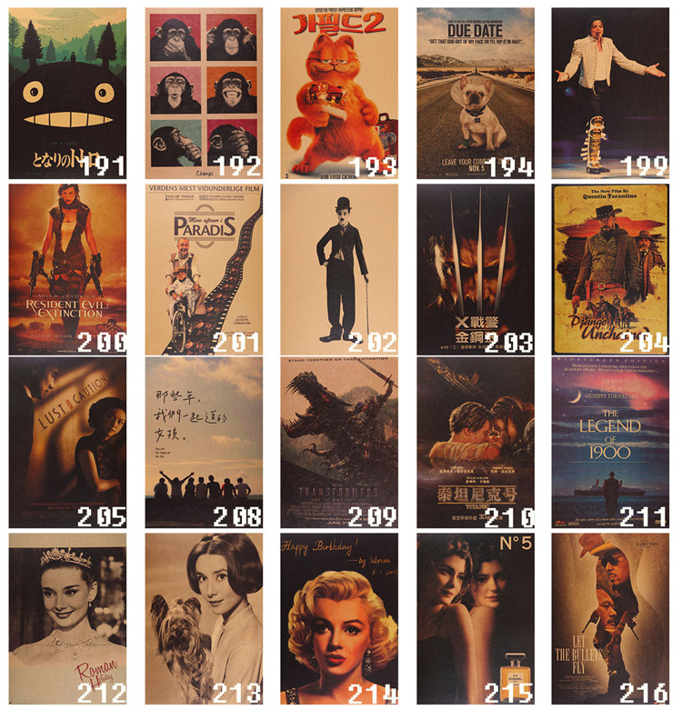special offer --wholesale # 22 pieces # Vintage COOL  Retro movie poster print - HOME bar coffee house TOP Decor ART-P191