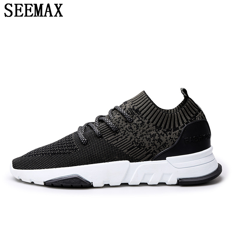 SEEMAX Breathable Running Shoes For Man Black White Sport Shoes Men Sneakers