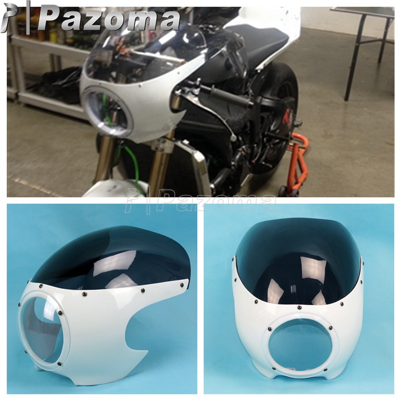 White Smoke Motorcycles Classic Drag Cafe Racer Fairing Viper Windshield Windscreen 5-3/4