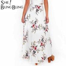 11205e1def Verano mujeres Sexy bifurcada Falda larga Vintage irregularmente impresión  elegante playa Maxi falda Boho alta cintura