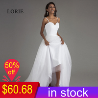 LORIE Spaghetti Strap Beach Wedding Dresses 2019 Vestido Noiva Praia Simple White Tulle Casamento Sashes Bridal Gown Custom made