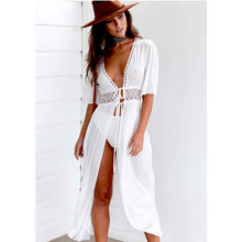 f5d8bc504d (Ship from US) White Cover Ups Women 2018 Summer Sexy Ladies Bikini Beach  Dress Hollow Out Half Sleeve Swimwear Kimono Beach Pareo Playa