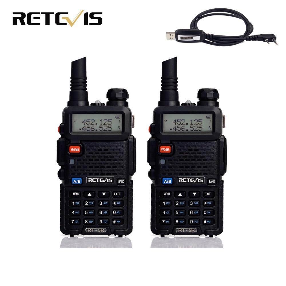 imágenes para 2 unids Walkie Talkie Retevis RT-5R 5 W 128CH UHF + VHF Ham Radio Transceptor Hf Walkie-talkie Dos vías de Radio Comunicador A7105A