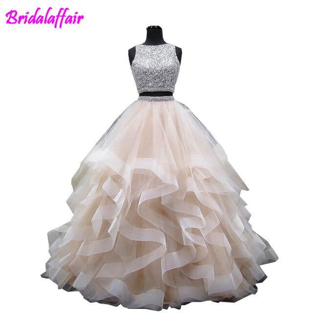 cb94fd2525268 Sexy two piece prom dresses 2018 Nuovo Elegante In Rilievo Pesante Backless  Puffy Champagne Africano Due Pezzi Prom Dresses