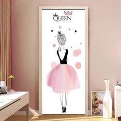 90x200 cm/77x200 cm simples europeu porta adesivos para sala de estar quarto quee vestido menina pvc cartaz à prova dwaterproof água renovar decoração decalque