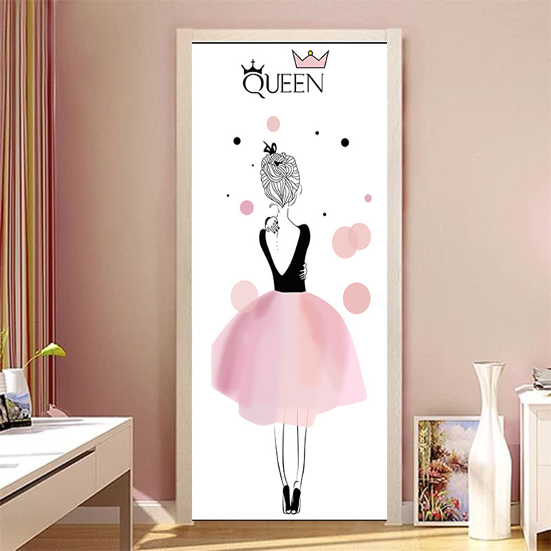 90x200cm/77x200cm Simple European Door Stickers For Living Room Bedroom Quee Dress Girl PVC Poster Waterproof Renew Decor Decal